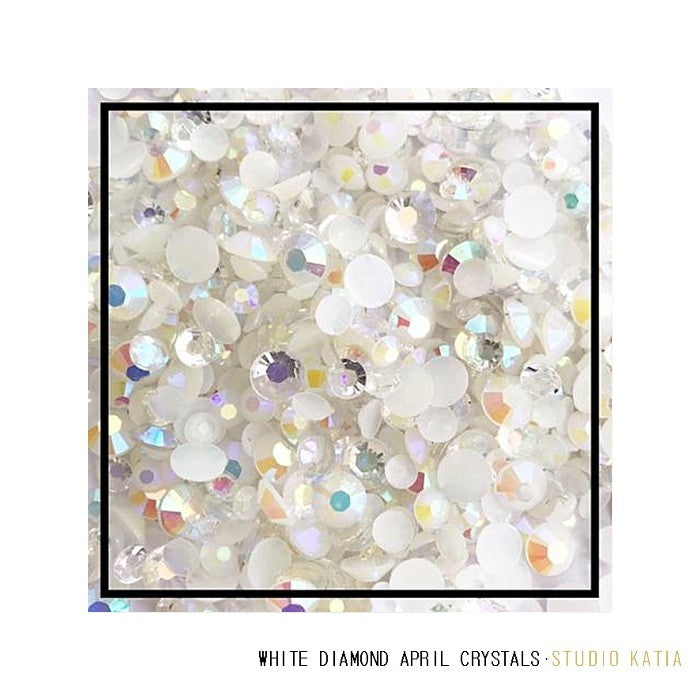 Studio Katia April Birthstones White Diamond Crystal Jewels Mix