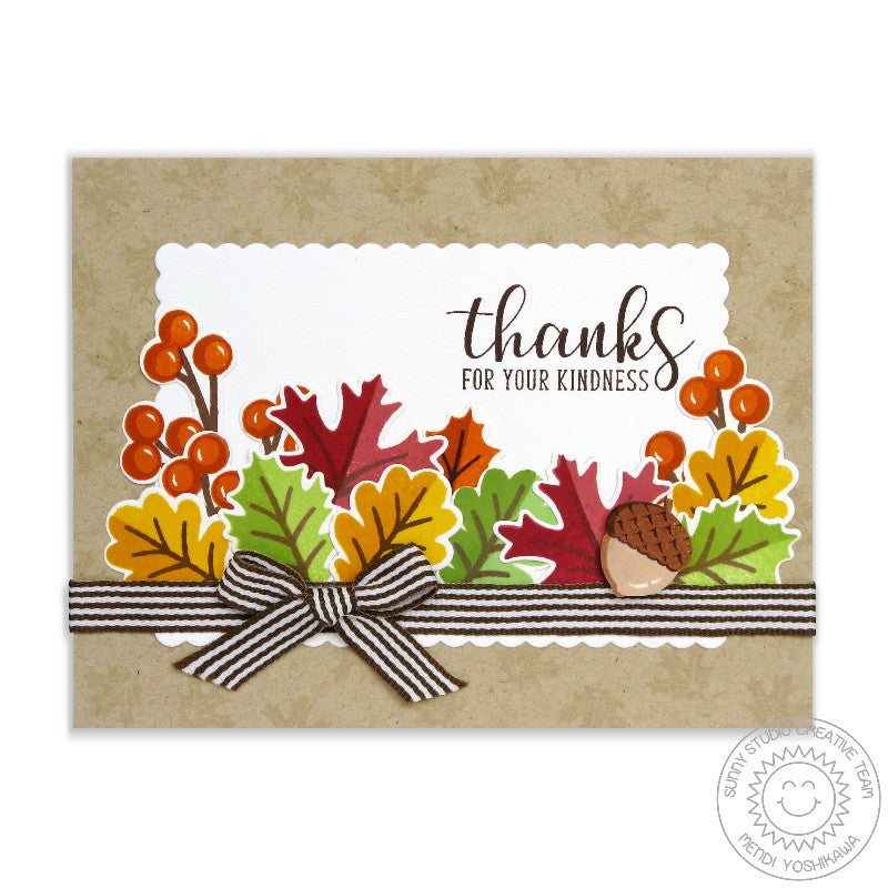 Sunny Studio Stamps: Autumn Splendor & Autumn Greetings Fall Leaves Thank You Card