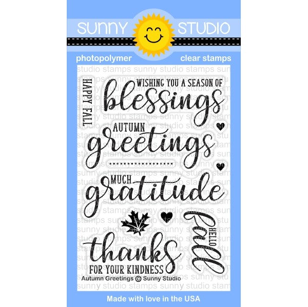 Sunny Studio Stamps Autumn Greetings 3x4 Photopolymer Clear Stamp Set
