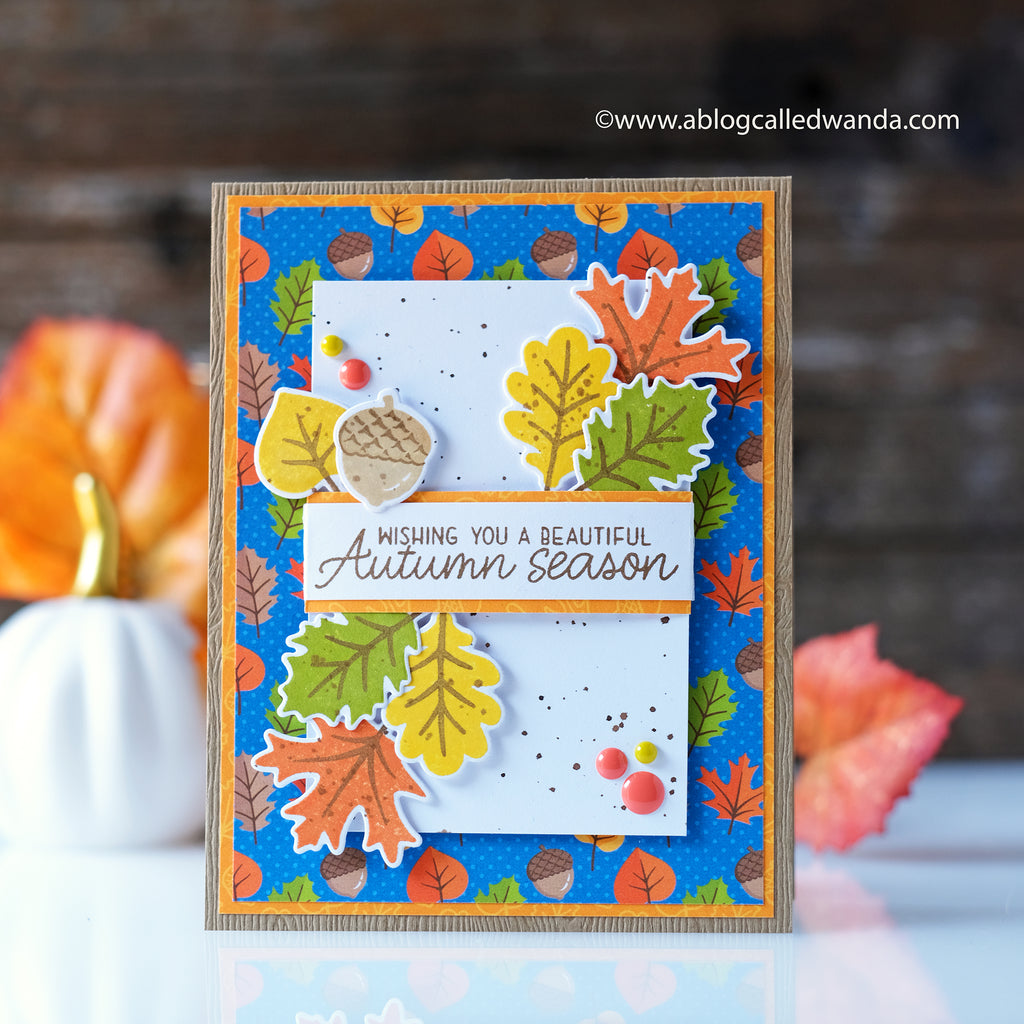 Sunny Studio Stamps Autumn Splendor Wishing You A Beautiful Autumn Season Fall Leaves Card (with patterned paper from Colorful Autumn 6x6 Paper Pack)