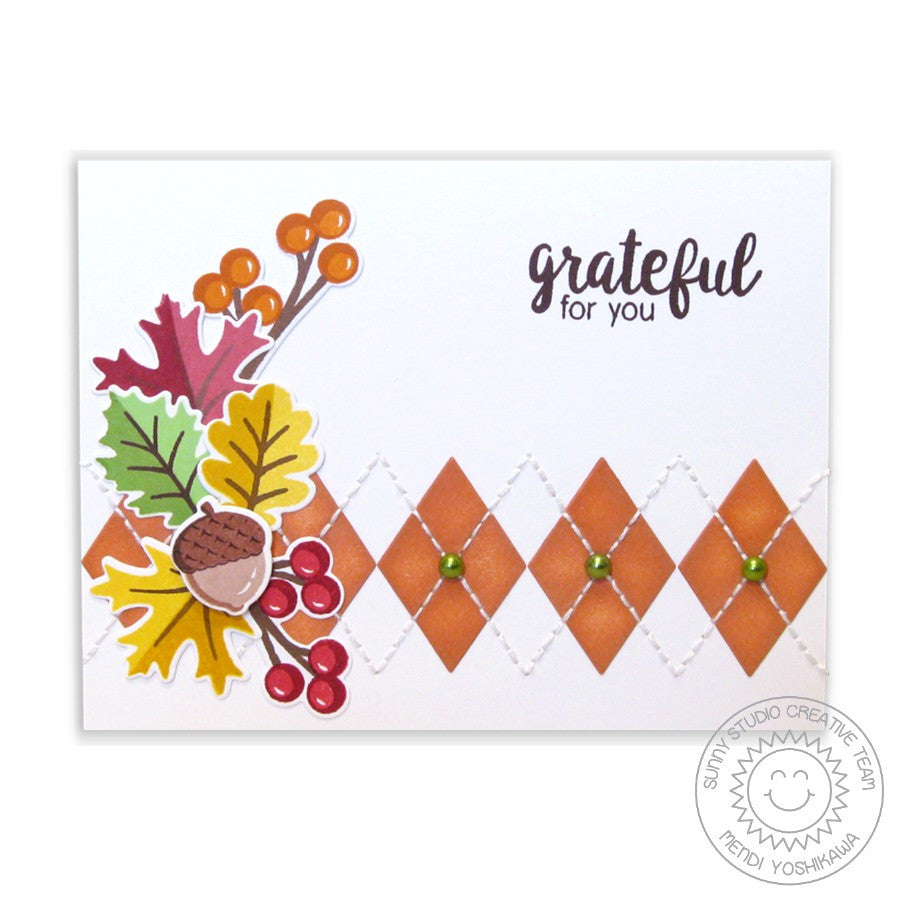 Sunny Studio Stamps Autumn Splendor Fall Leaves Argyle Card
