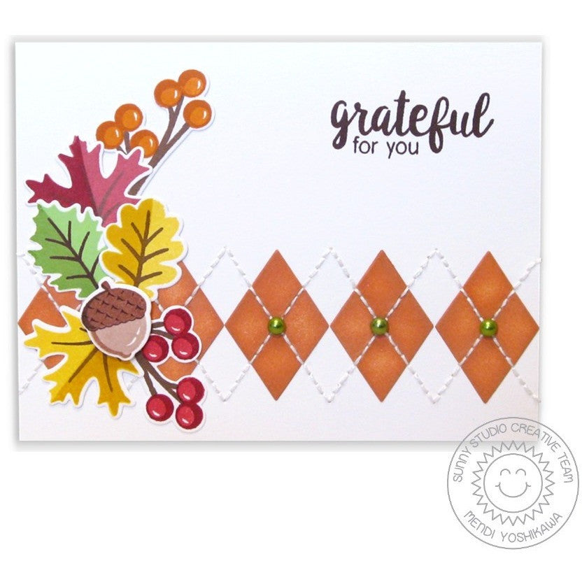 Sunny Studio Stamps Basic Mini Shape Dies Diamond Argyle Fall Card