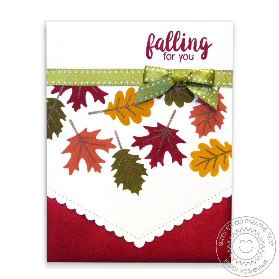 Sunny Studio Stamps Falling For You Fall Leaves Card with Scalloped Edge (using Fishtail Banner II Metal Cutting Dies)