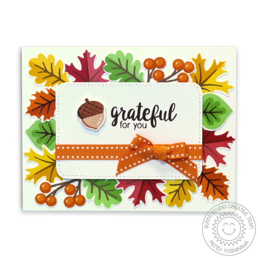 Sunny Studio Stamps Autumn Splendor Fall Leaves Grateful For You Card