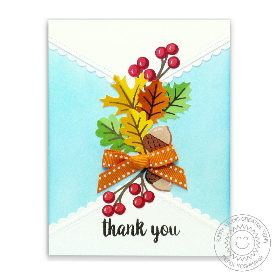 Sunny Studio Stamps Fall Leaves & Berries Handmade Thank You Card with Scalloped Edge  (using Fishtail Banner II Metal Cutting Dies)