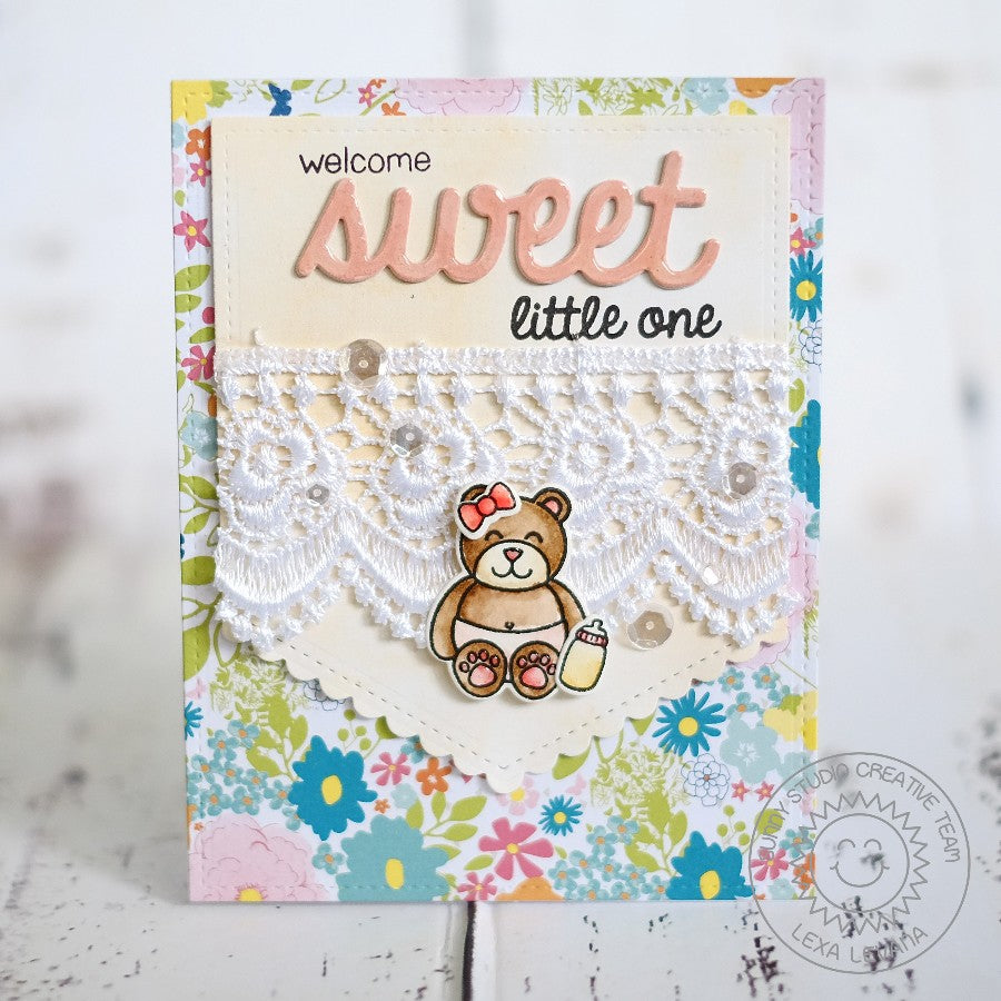 Sunny Studio Stamps Welcome Sweet Little One Baby Bear Handmade Card (using Sweet Word Die)