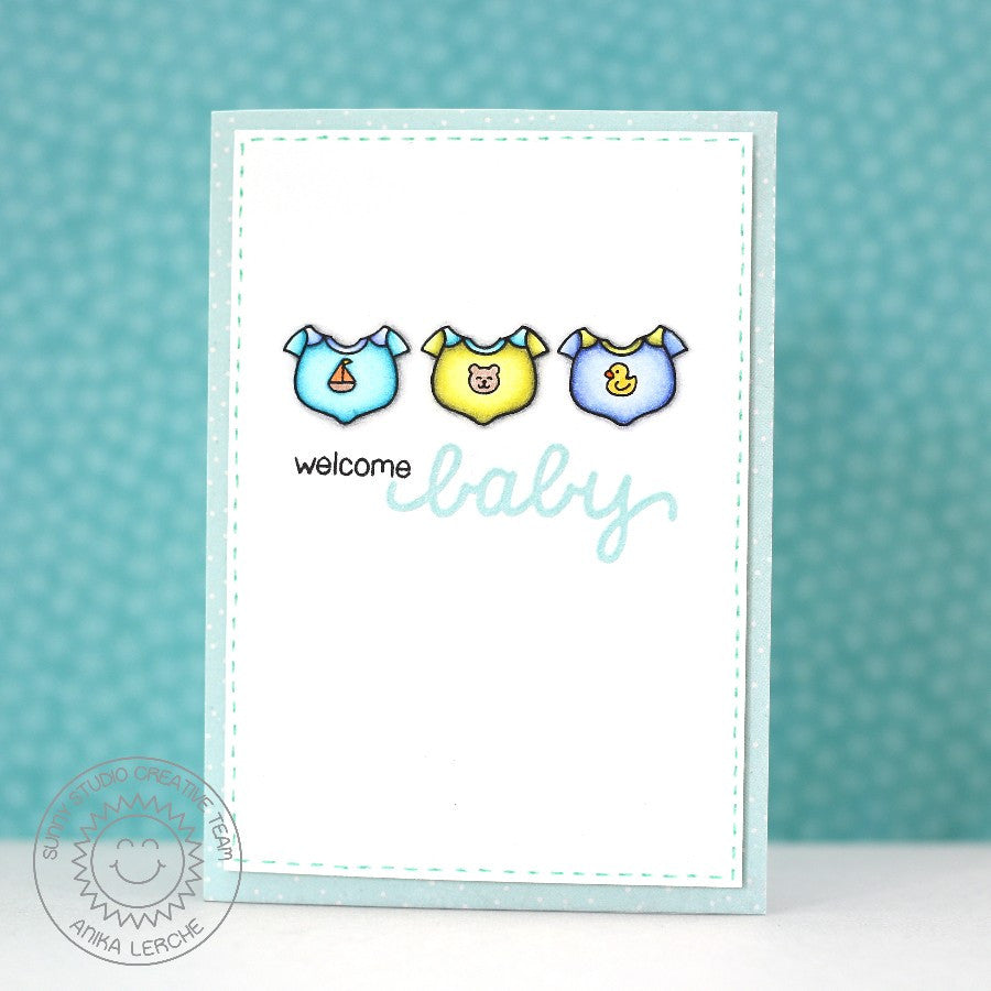 Sunny Studio Stamps Baby Bear Onesie Bodysuit Card