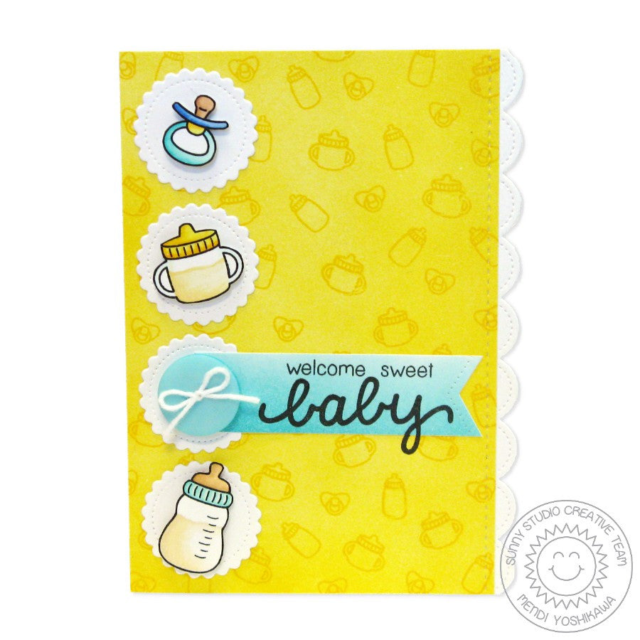 Sunny Studio Stamps Baby Bear Sippy Cup, Bottle & Pacifier Card
