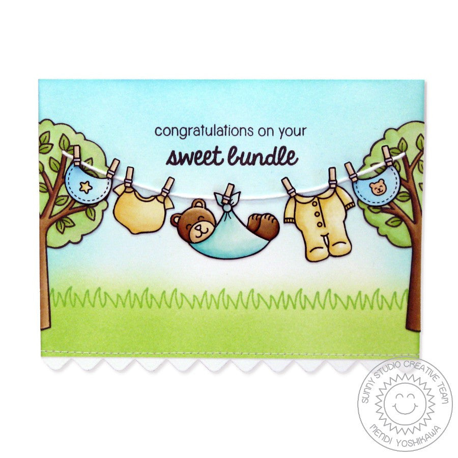 Sunny Studio Stamps Baby Bear Clothes line Card