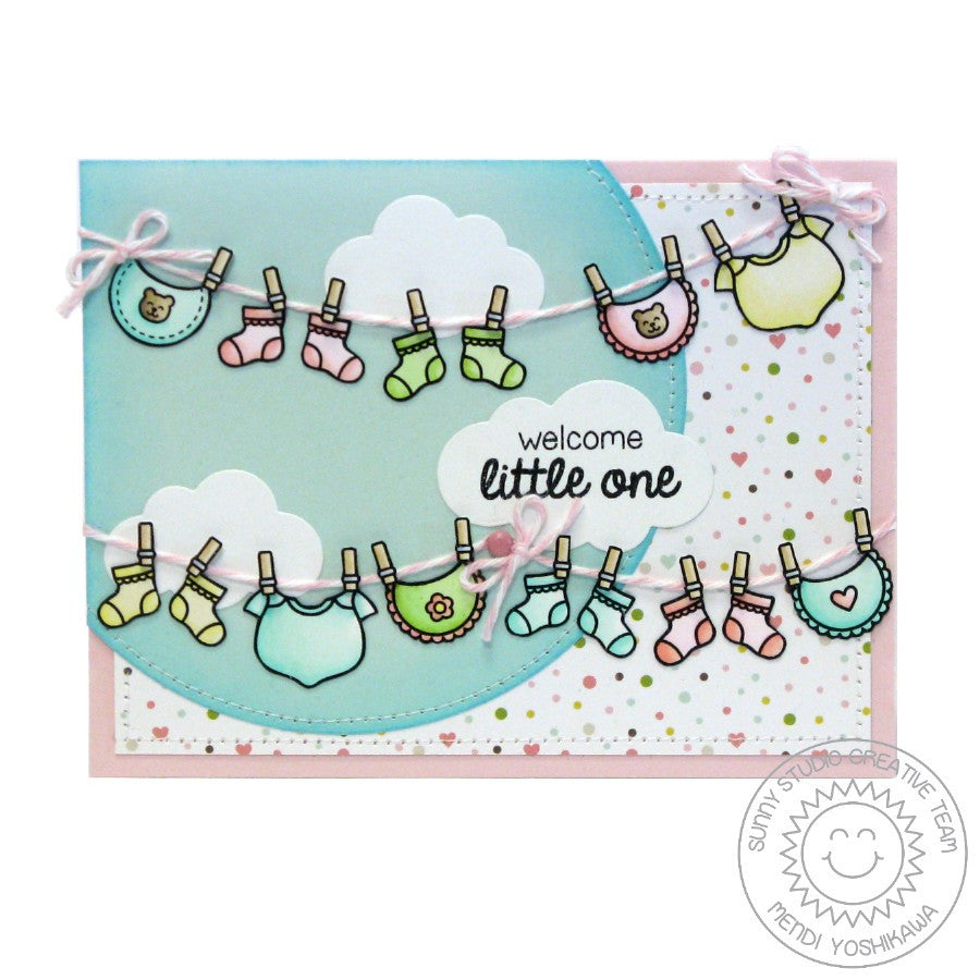 Sunny Studio Stamps Baby Bear Socks, Bibs, Booties & Onsies Card