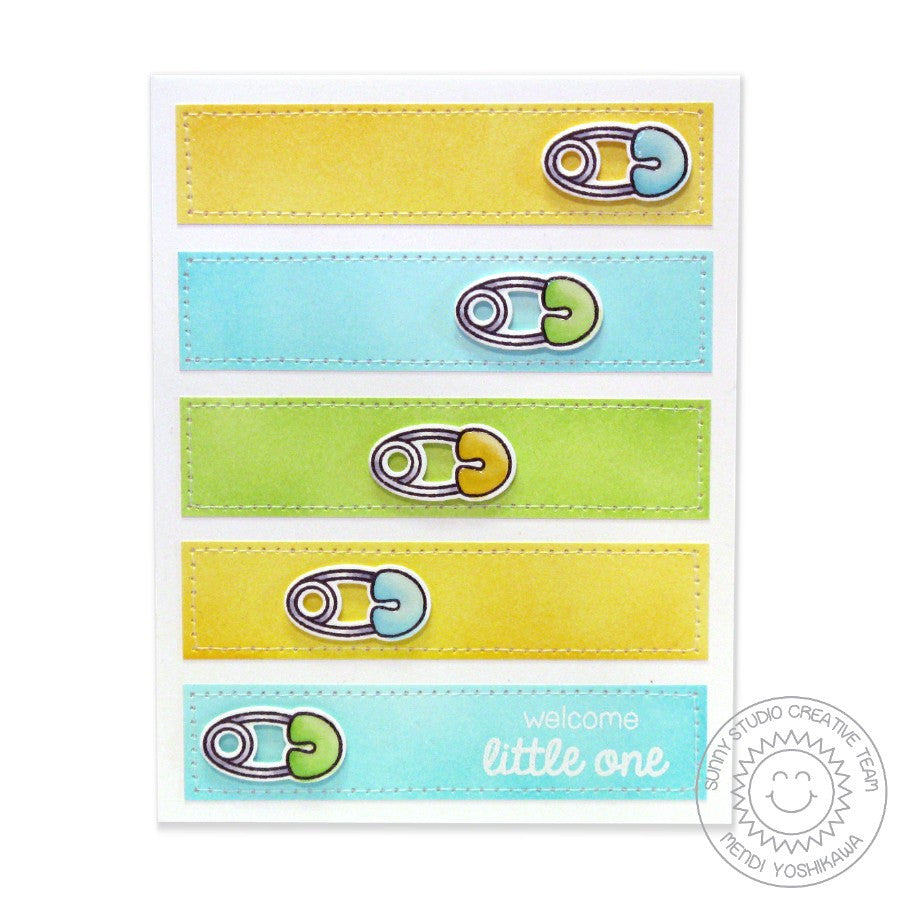 Sunny Studio Stamps Baby Bear Diaper Pin Card
