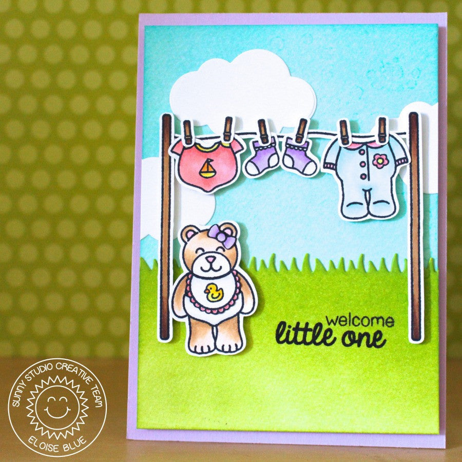 Sunny Studio Stamps Baby Bear Clothesline Card