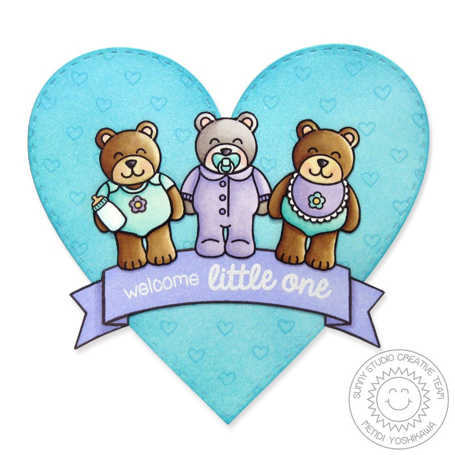 Sunny Studio Stamps Baby Bear Heart Shaped Card