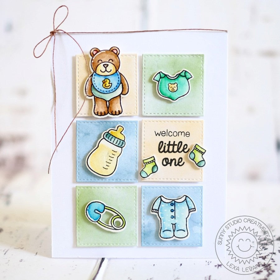 Sunny Studio Stamps Baby Bear Grid Style Card