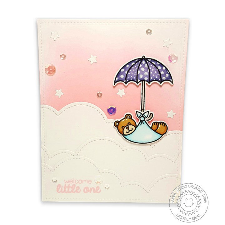 Sunny Studio Stamps Baby Bear Bundle with Umbrella Card