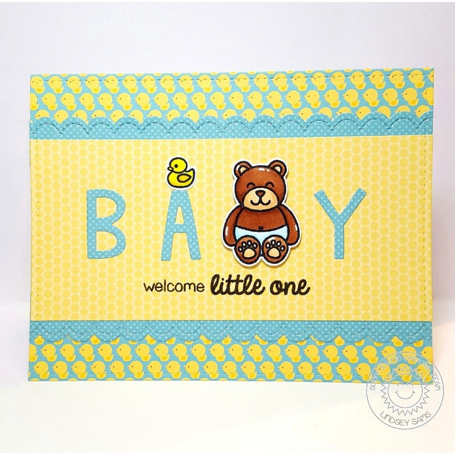 Sunny Studio Stamps Baby Bear Sweet Little One Card
