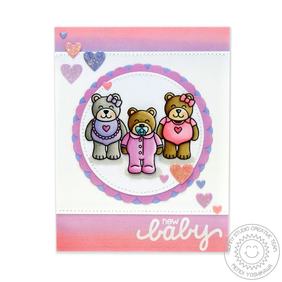 Sunny Studio Stamps Baby Bear Girl Ombre Card