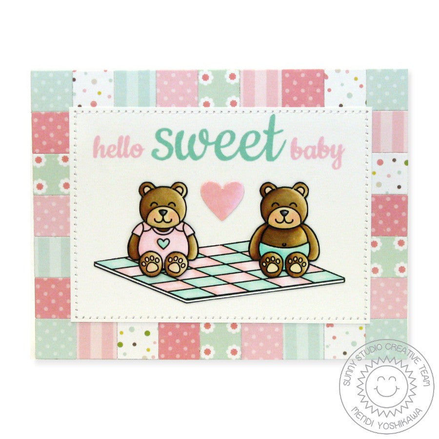 Sunny Studio Stamps Baby Bear Patchwork Quilt Card