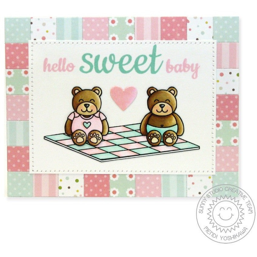 Sunny Studio Stamps Basic Mini Shape Dies Baby Card with Partchwork Square border