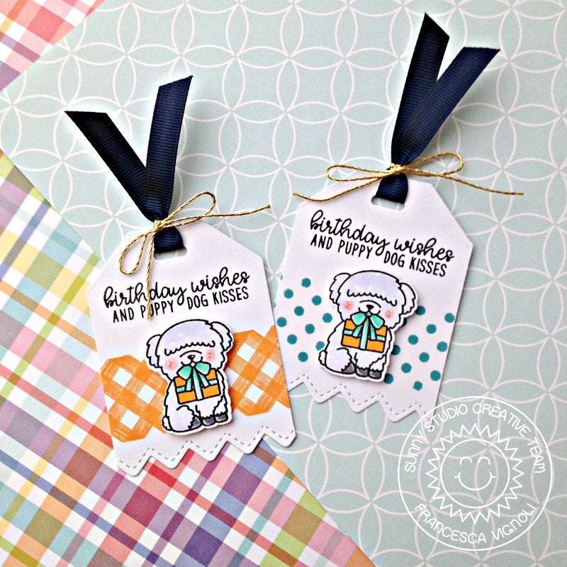 Sunny Studio Stamps Background Basics Gingham & Polka-dot Dog Gift Tags