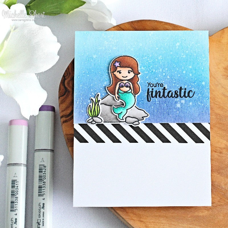 Sunny Studio Stamps Magical Mermaids Fintastic Card with Black & White Striped Border (using Background Basics stamps)