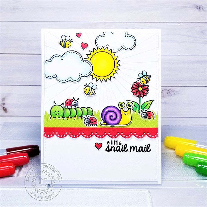 Sunny Studio Stamps Red, Yellow, Green and White Snail Mail Spring Bugs Handmade Card (using scalloped Eyelet Lace Border Metal Cutting Dies)