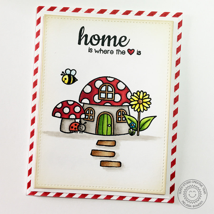 Sunny Studio Stamps Backyard Bugs Home Is Where The Heart Is card