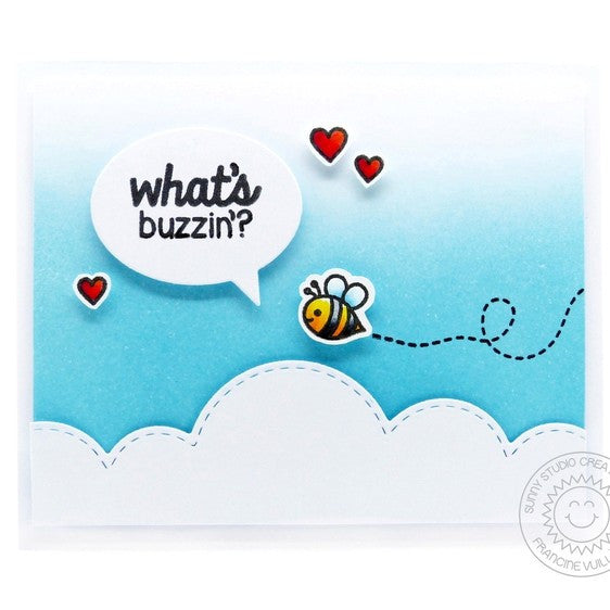 Sunny Studio Stamps Backyard Bugs What's The Buzz? Bumblebee in Clouds Card