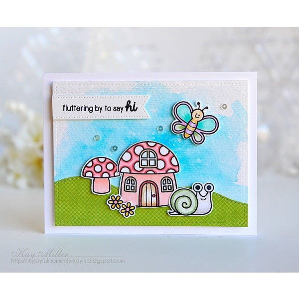 Sunny Studio Stamps Backyard Bugs Watercolor Butterfly & Toadstool House Card