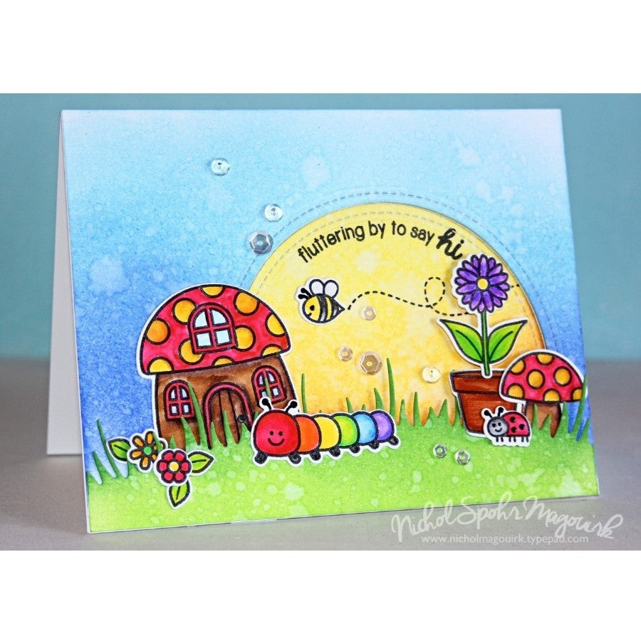 Sunny Studio Stamps Backyard Bugs Rainbow Caterpillar Card