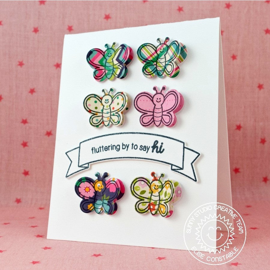 Sunny Studio Stamps Backyard Bugs Butterfly Grid Style Card