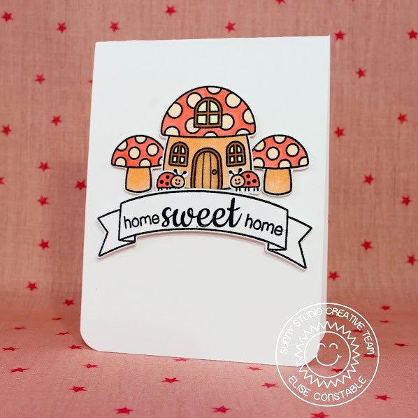 Sunny Studio Stamps Backyard Bugs Home Sweet Home Mushroom House Card