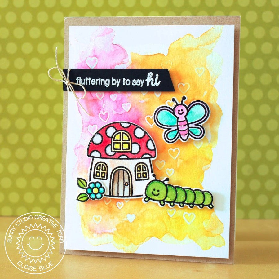Sunny Studio Stamps Backyard Bugs Watercolor Scene Card