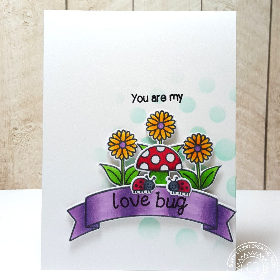 Sunny Studio Stamps Backyard Bugs Daisies & Ladybugs Love Bug Card