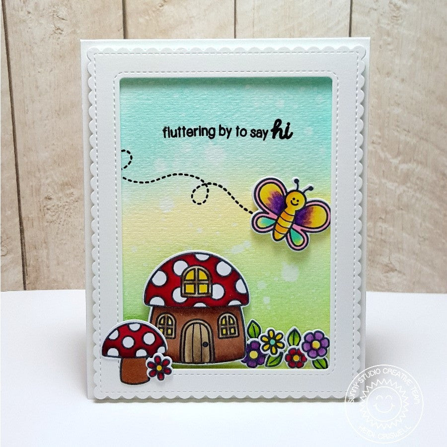 Sunny Studio Stamps Backyard Bugs Butterfly & Mushroom House Card