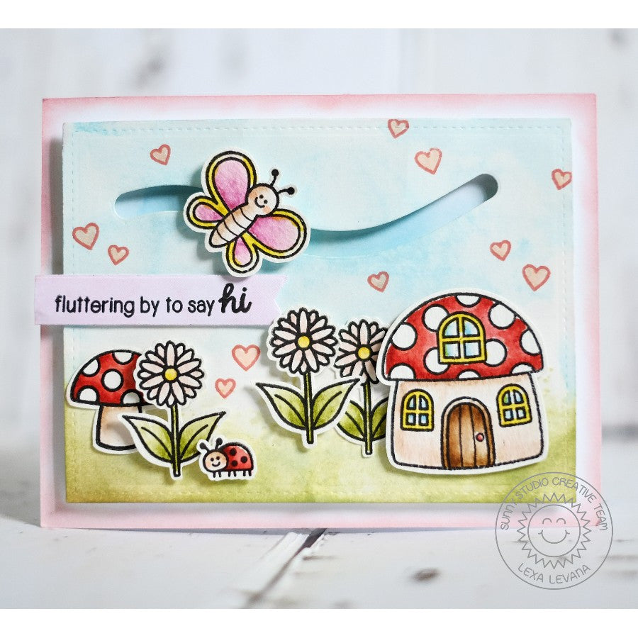 Sunny Studio Stamps Backyard Bugs Mushroom House Butterfly Slider Card