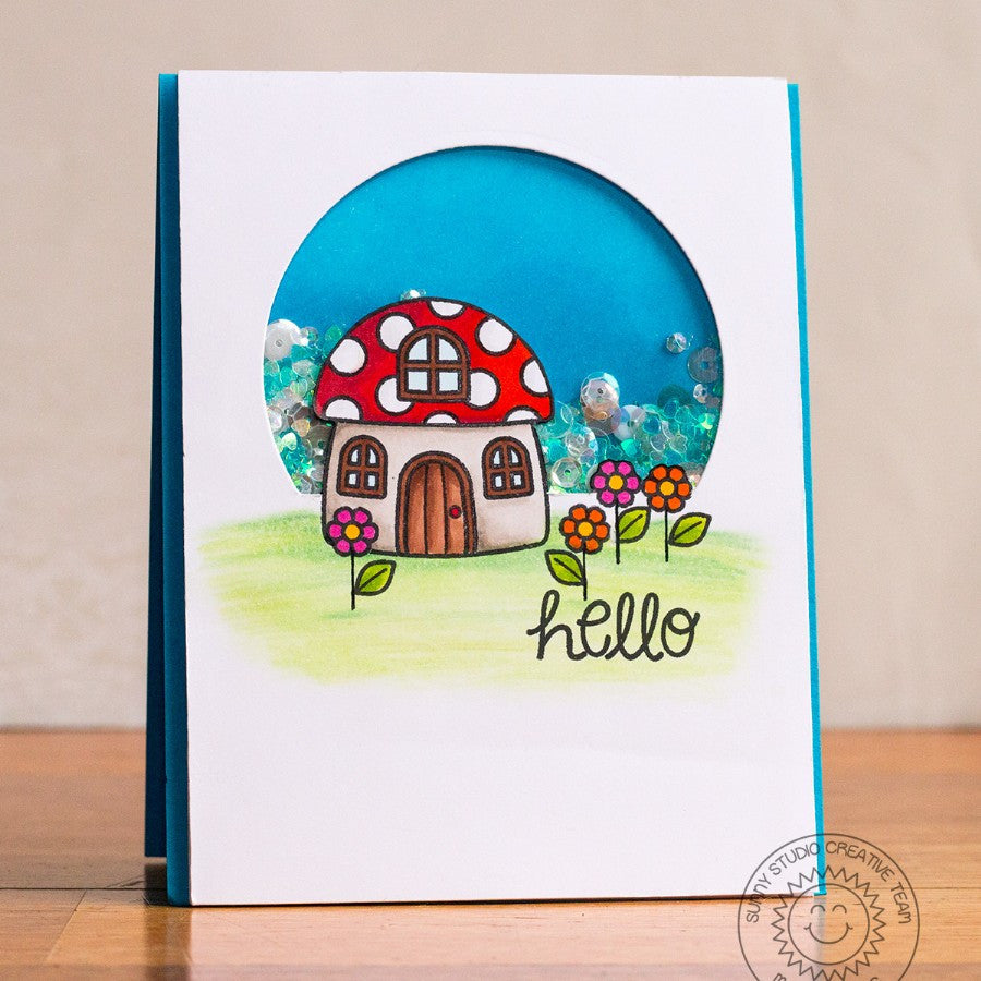Sunny Studio Stamps Backyard Bugs Mushroom House Hello Card