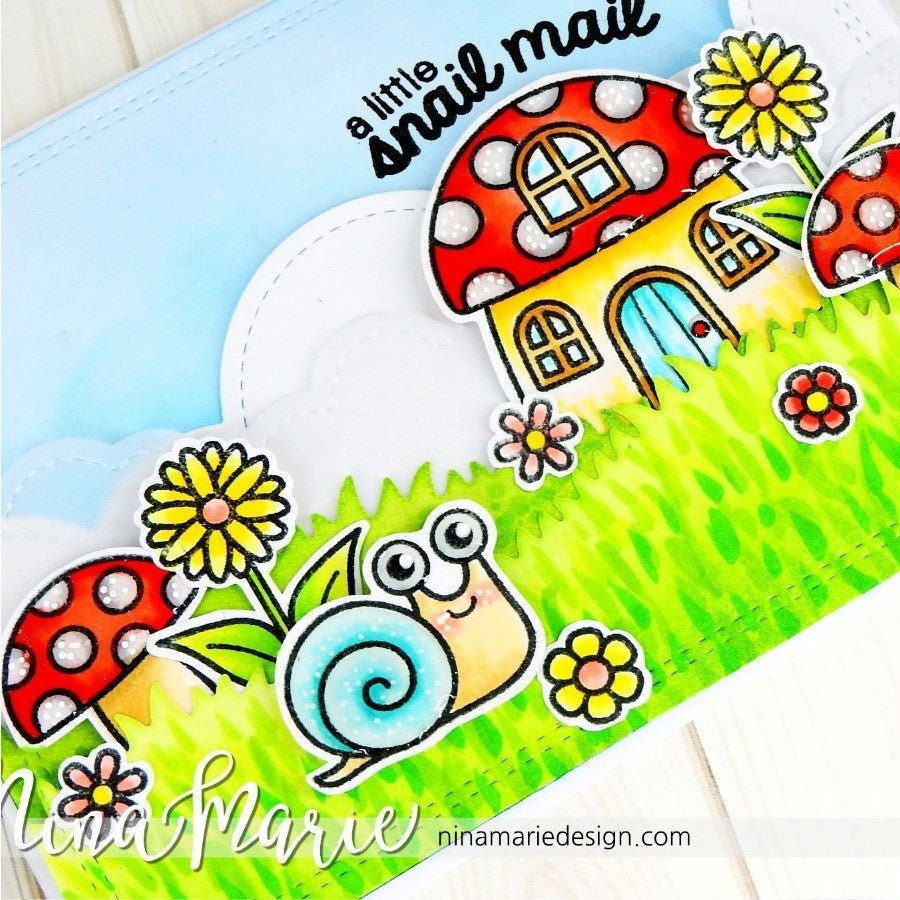 Sunny Studio Stamps A Little Snail Mail Toadstool Mushroom House Handmade Card (using Backyard Bugs 4x6 Clear Photo-polymer Stamp Set)
