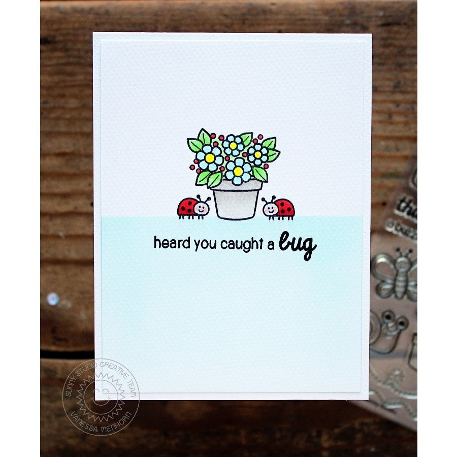 Sunny Studio Stamps Backyard Bugs Sorry to hear you caught a bug Card