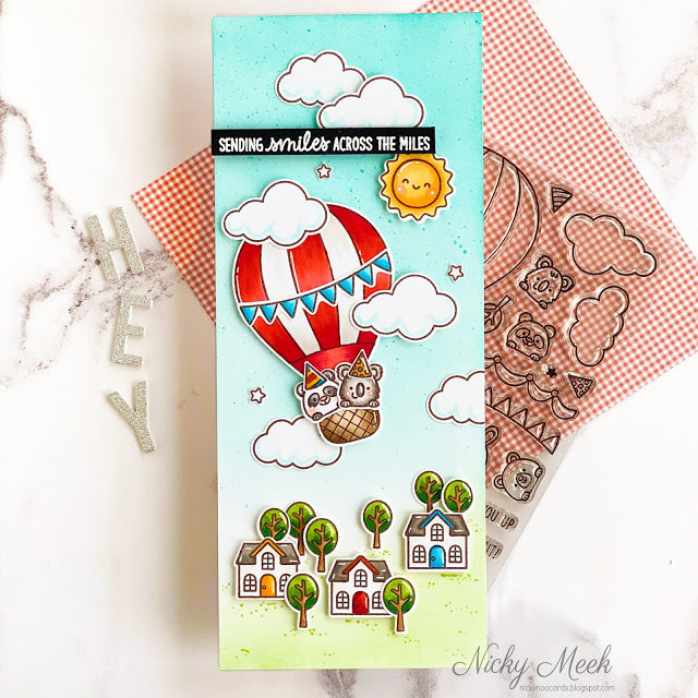 Sunny Studio Sending Smile Across The Miles Hot Air Balloon Flying Over Houses Slimline Card (using Balloon Rides 4x6 Clear Stamps)