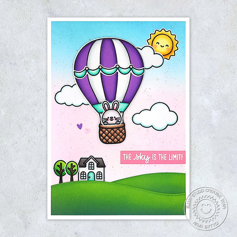 he Sky Is The Limit Hot Air Balloon with Rolling Hills, House & Sunshine Handmade Card (using Balloon Rides 4x6 Clear Stamps)