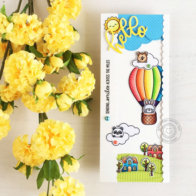 Sunny Studio Hello & Sending Smiles Across the Miles Rainbow Hot Air Balloon Flying Over Homes Handmade Slimline Card (using Balloon Rides 4x6 Clear Stamps)