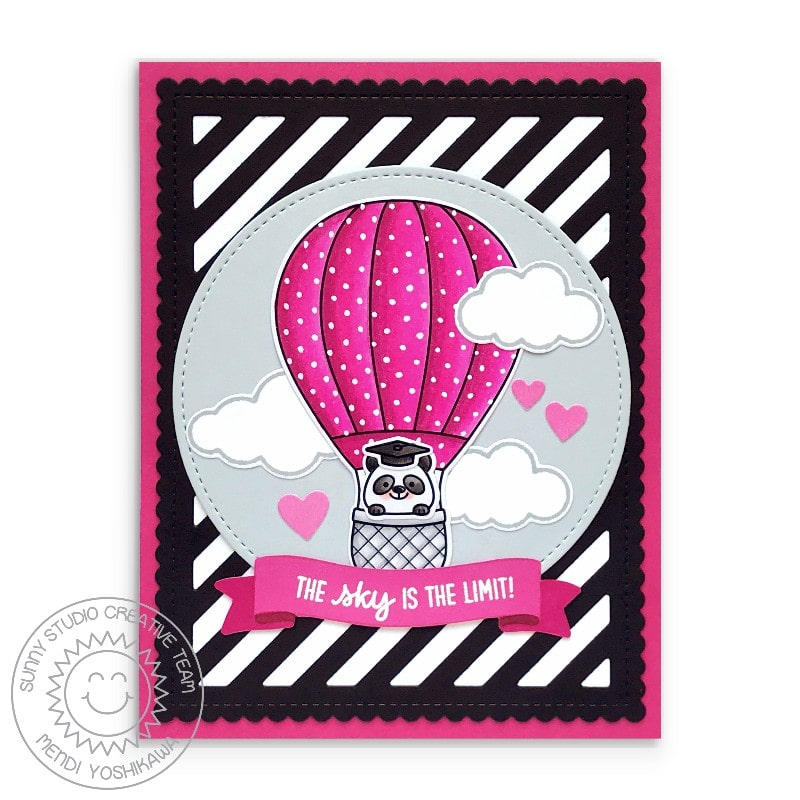 Sunny Studio Black & White Striped Panda in Pink Polka-dot Hot Air Balloon Graduation Card (using Balloon Rides Clear Stamps)