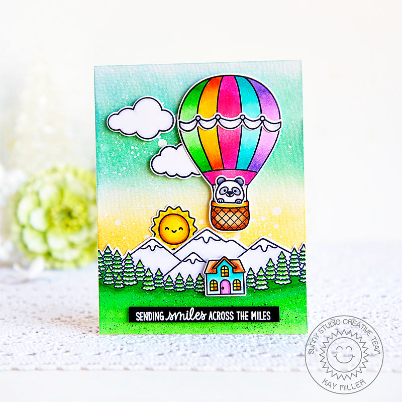 Sunny Studio Sending Smiles Across The Miles Rainbow Hot Air Balloon Handmade Card (using Balloon Rides 4x6 Clear Stamps)