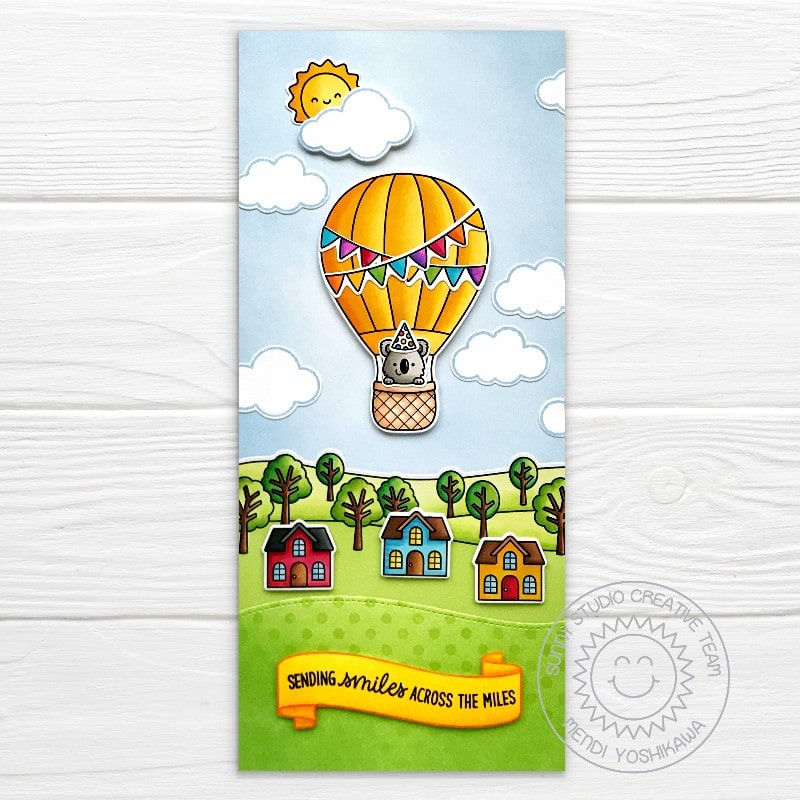 Sunny Studio Sending Smiles Across The Miles Hot Air Balloon Flying over Neighborhood Houses Card (using Balloon Rides Clear Stamps)