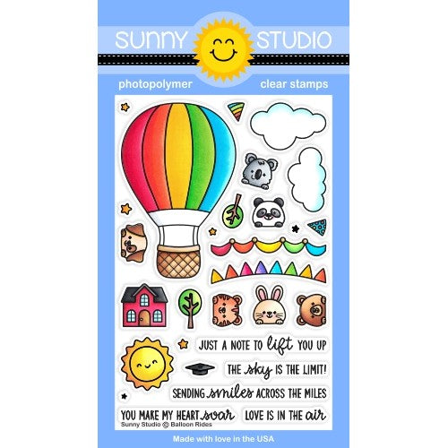 Sunny Studio Stamps Balloon Rides 4x6 Hot Air Balloon with Critters Clear Photopolymer Stamp Set