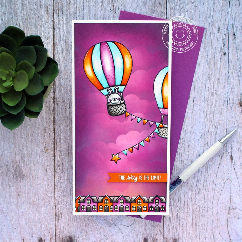 Sunny Studio The Sky Is The Limit Hot Air Balloon with Purple Fluffy Clouds Slimline Handmade Card (using Balloon Rides 4x6 Clear Stamps)
