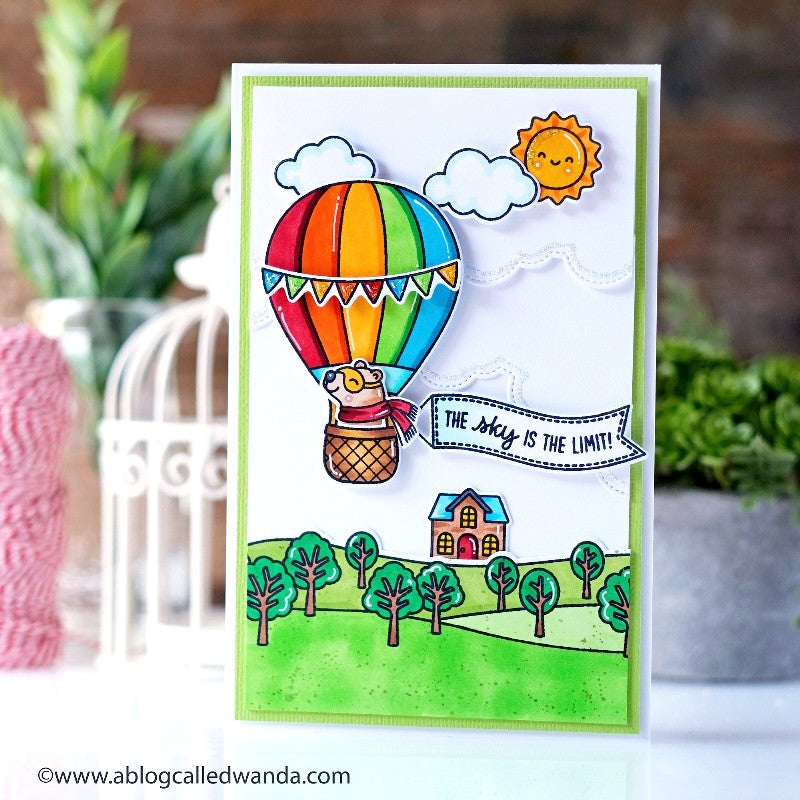 "Sunny Studio ""The Sky Is The Limit"" Bear Flying in Hot Air Balloon Handmade Card (using Balloon Rides 4x6 Clear Stamps)"