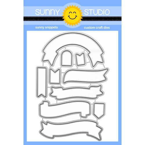Sunny Studio Stamps Banner Basics Metal Cutting Dies Set