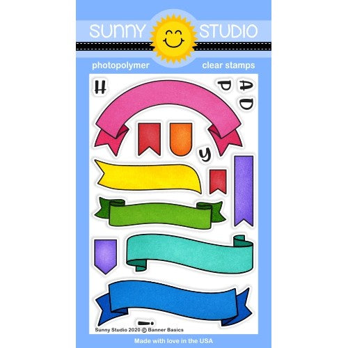 Sunny Studio Stamps Banner Basics Pennant & Scroll Style 4x6 Clear Photopolymer Stamp Set